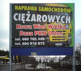 reklama mocowana nitami